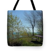 Picnic Table By The Lake Photo Tote Bag