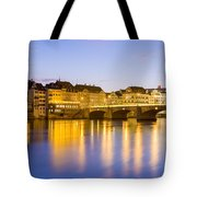 Picturesque Basel At Night Tote Bag