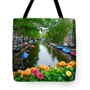 Picturesque View Amsterdam Holland Canal Flowers Tote Bag