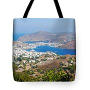 Picturesque View Of Skala Greece On Patmos Island Tote Bag