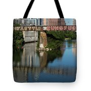 Picturesque View Of The Railroad Graffiti Bridge Over Lady Bird Lake As Canoes And Kayakers Paddle Under The Bridge On A Beautiful Summers Day Tote Bag