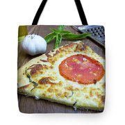 Piece Of Margarita Pizza With Ingredients Tote Bag