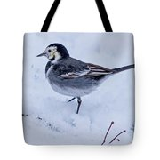 Pied Wagtail In The Snow Tote Bag