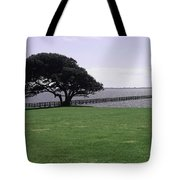 Pier And Tree By The River Tote Bag