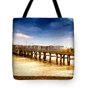 Pier At Sunset Oil Painting Photograph Tote Bag