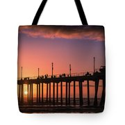 Pier At Sunset Tote Bag by T A Davies