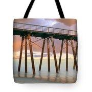 Pier On Beach During Sunrise, Playas De Tote Bag
