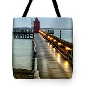 Pier With Lighthouse Tote Bag