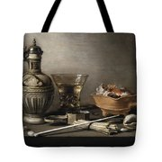 Pieter Claesz - Still Life With A Stoneware Jug, Berkemeyer, And Smoking Utensils 1640 Tote Bag
