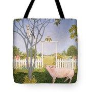 Pig And Cat Tote Bag