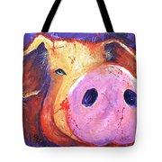 Pig On Purple I Tote Bag