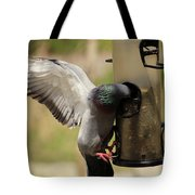 Pigeon And Feeder Wings Spread Tote Bag