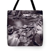 Pigeon Forge River Great Smoky Mountains Bw Tote Bag