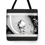 Pigtails Girl Metal Monochrome  Tote Bag