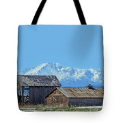 Pikes Peak And Old Barn Spring Snow Tote Bag
