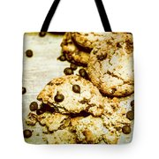 Pile Of Crumbled Chocolate Chip Cookies On Table Tote Bag