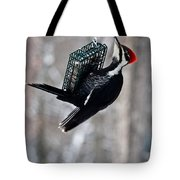 Pileated Billed Woodpecker Feeding 1 Tote Bag