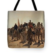 Pilgrims Going To Mecca Tote Bag by Leon Auguste Adolphe Belly