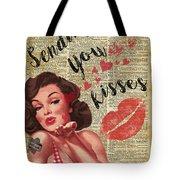 Pin-up Girl Sending Kisses Vinatage Book Page Collage Tote Bag