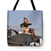 Pin-up Girl Sitting On The Wing Tote Bag by Christian Kieffer