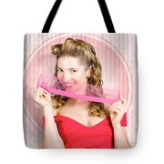 Pin Up Hairdresser Woman With Hair Salon Brush Tote Bag