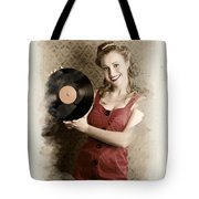 Pin-up Rockabilly Woman Holding Vinyl Record Lp Tote Bag