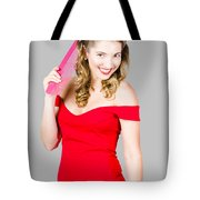 Pin-up Styled Fashion Model With Classic Hairstyle Tote Bag