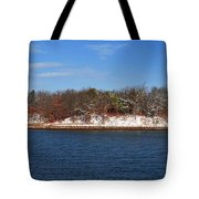 Pine Island In The Snow Tote Bag