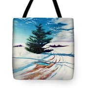 Pine Tree Along The Country Road Tote Bag