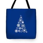 Pine Tree Snowflakes - Dark Blue Tote Bag