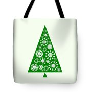 Pine Tree Snowflakes - Green Tote Bag