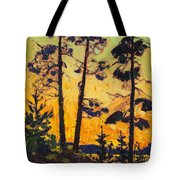 Pine Trees At Sunset Tote Bag
