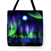 Pine Trees In Aurora Borealis Tote Bag