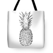Pineapple Black And White Tote Bag