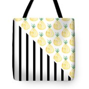 Pineapples And Stripes Tote Bag by Linda Woods