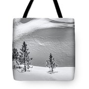Pines In Snow Drifts Black And White Tote Bag