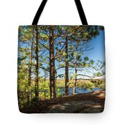 Pines On Sunny Cliff Tote Bag