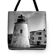 Piney Point Lighthouse - Mayland - Black And White Tote Bag