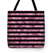 Pink And Black Glitter Sequin Stripes Tote Bag
