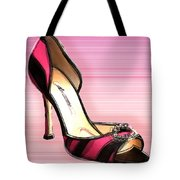 Pink And Black Stripe Shoe Tote Bag
