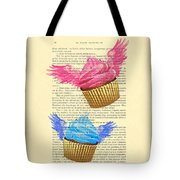 Pink And Blue Cupcakes Vintage Dictionary Art Tote Bag