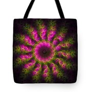 Pink And Green Fractal Sun Tote Bag