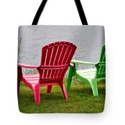 Pink And Green Lounging Chairs By The Lake Tote Bag by Louise Heusinkveld