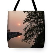 Pink And Green Summer - Soft Misty Sunrise On The Lake Tote Bag