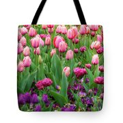 Pink And Purple Tulips At The Spring Floriade Festival Tote Bag