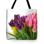 Pink And Violet  Tulips Tote Bag
