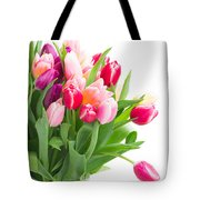 Pink And Violet Tulips Bouquet  Tote Bag