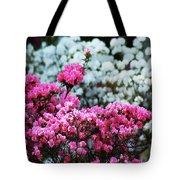 Pink And White Azelas Tote Bag