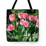 Pink And White Fringed Tulips Tote Bag