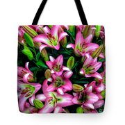 Pink And White Lilies Tote Bag